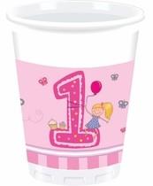 1. narozeniny holčičí kelímky 8ks 200ml