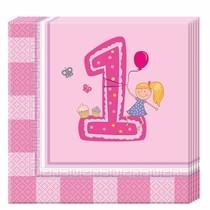 1. narozeniny holčičí ubrousky 20ks 2-vrstvé, 33cm x 33cm