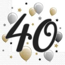 Ubrousky číslo 40 narozeniny 20 ks 33 cm x 33 cm