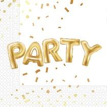 Ubrousky Party zlaté 20 ks 33 cm x 33 cm, 2-vrstvé