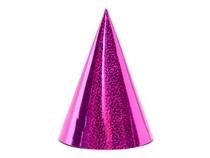 Čepičky růžové holografické 6 ks 17 cm