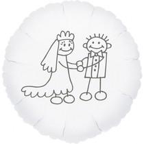 Svatební balónek fóliový bílý kruh panačči