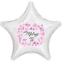 Miluji Tě balónek fóliová hvězda bílá