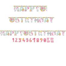Jednorožec šťastné narozeniny nápis s číslem 3,2 m x 25,4 cm