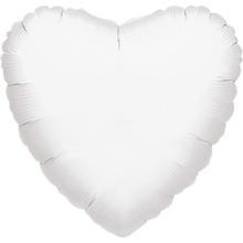 Balónek srdce bílé metalické JUMBO 81cm