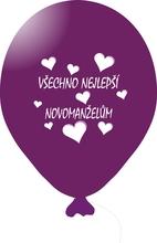 Balónky svatební - Purple 062 s bílým potiskem