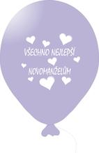 Balónky svatební - Lavender 076 s bílým potiskem