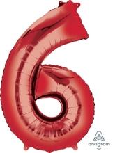 Balónky fóliové narozeniny číslo 6 červené 86cm
