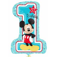 Mickey 1. narozeniny foliový balónek 71cm x 48cm