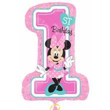 Minnie 1. narozeniny foliový balónek 71cm x 48cm