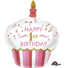 1. narozeniny balónek dort pro holku 73 cm x 91 cm