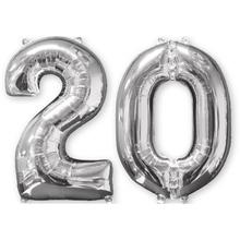 Balónky fóliové narozeniny číslo 20 stříbrna 66 cm