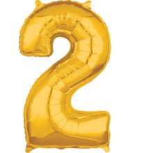 Balónek fóliový narozeniny číslo 2 zlatý 66cm