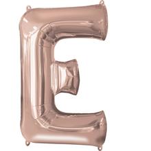 Písmeno E růžovo-zlaté foliový balónek 83 cm