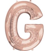 Písmeno G růžovo-zlaté foliový balónek 83 cm
