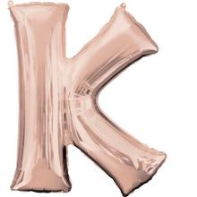 Písmeno K růžovo-zlaté foliový balónek 83 cm