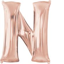 Písmeno N růžovo-zlaté foliový balónek 83 cm