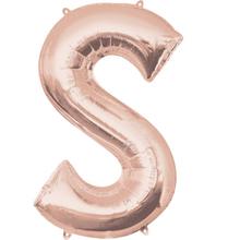 Písmeno S růžovo-zlaté foliový balónek 83 cm