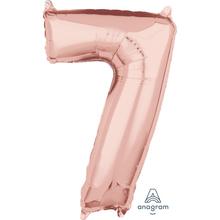 Balónek fóliový narozeniny číslo 7 růžovo-zlaté 66cm