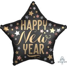 Happy New Year balónek hvězda saten 42 cm