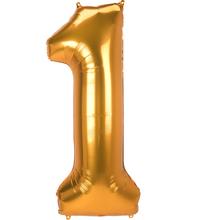 Obří balónek číslo 1 zlatý 134 cm x 55 cm