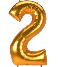 Obří balónek číslo 2 zlatý 134 cm x 78 cm