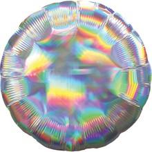 Balónek kruh holografický stříbrný