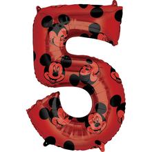 Mickey Mouse balónek číslo 5 červený 66 cm