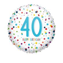 Balónek 40. narozeniny s puntíky 43 cm
