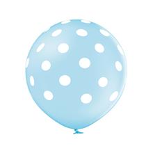 Balónek světle modrý s potiskem bílé tečky velký 60 cm