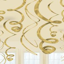 Závěsná dekorace zlatá 12ks 55,8 cm