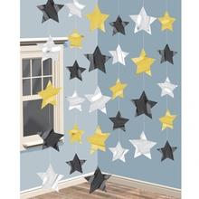 Závěsná dekorace 2m, zlatá, stříbrná a černá hvězda 10cm