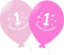 Narozeninové balónky růžové s potiskem 1 - 5 ks