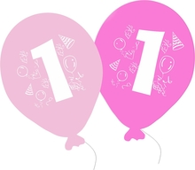 Balonky narozeniny 5ks s číslem 1 pro holky