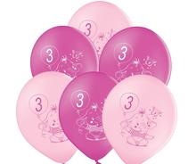 Balónky 3.narozeniny růžový slon 6 ks