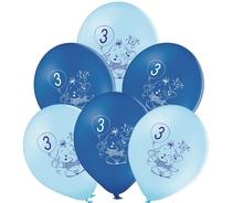 Balónky 3.narozeniny modrý slon 6 ks