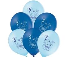 Balónky 5.narozeniny modrý slon 6 ks