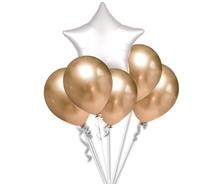 Balónky chromové zlaté a bílá hvězda set