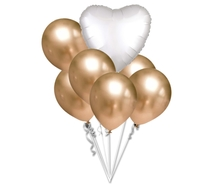 Balónky chromové zlaté a bílé srdíčko set