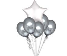 Balónky chromové stříbrné a bílá hvězda set