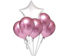 Balónky chromové růžové a bílá hvězda set
