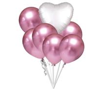 Balónky chromové růžové a bílé srdíčko set