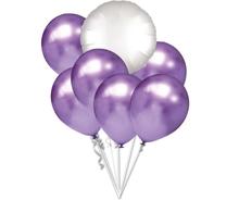 Balónky chromové fialové a bílý kruh set