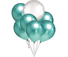 Balónky chromové zelené a bílý kruh  set