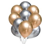 Balónky chromové zlaté a stříbrné 10 ks 30 cm mix