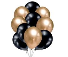 Balónky chromové zlaté a grafitově černé 10 ks 30 cm mix