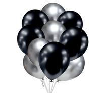 Balónky chromové stříbrné a grafitově černé 10 ks 30 cm mix