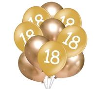 Balónky 18 narozeniny zlaté 10 ks 30 cm mix