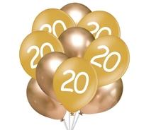 Balónky 20 narozeniny zlaté 10 ks 30 cm mix