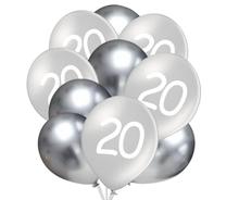 Balónky 20 narozeniny stříbrné 10 ks 30 cm mix